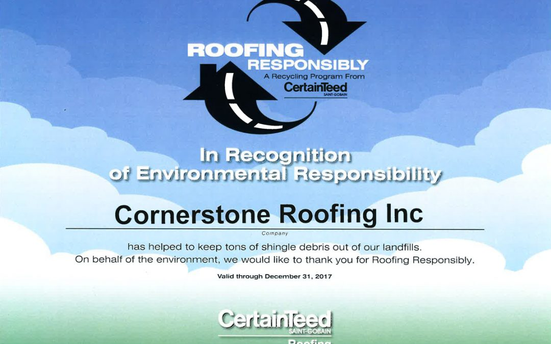 2017 CertainTeed Roofing Responsibly Program Certificate