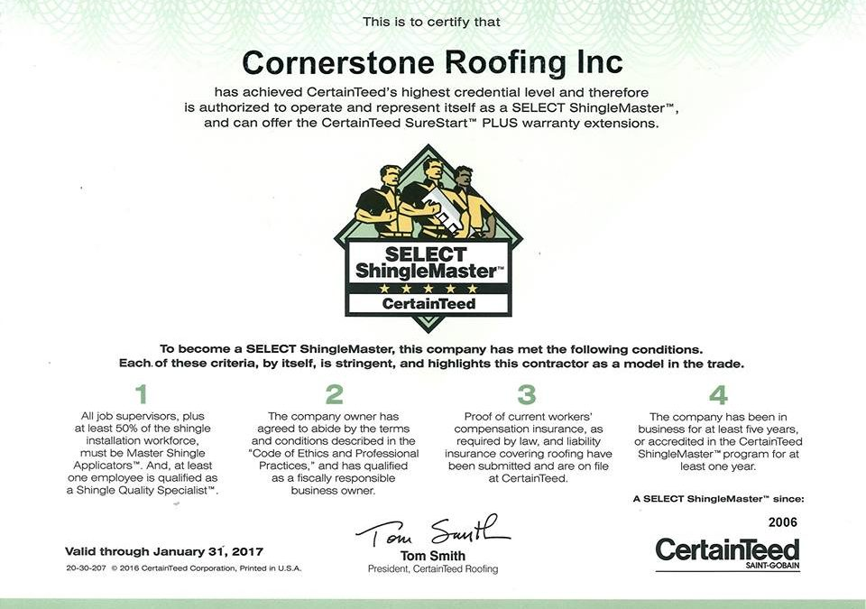 CertainTeed 2016 SELECT ShingleMaster Roofing Contractor