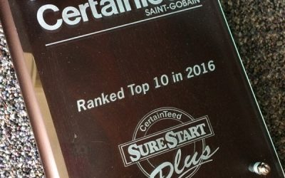 Top 10 in the Nation CertainTeed 5-Star SureStart PLUS warranted jobs