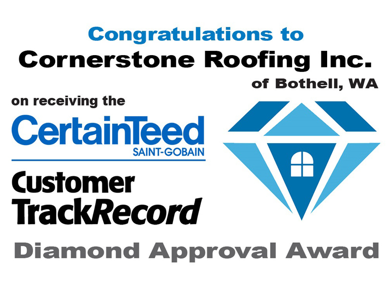 CertainTeed Customer TrackRecord 2015 Diamond Approval Award