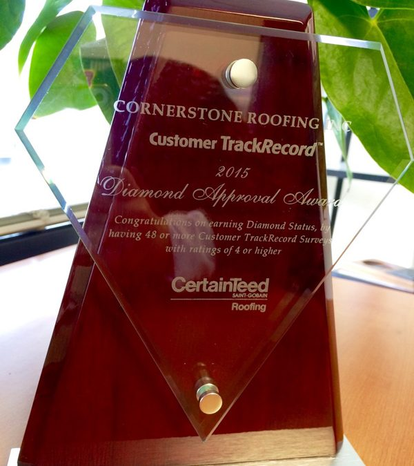 CertainTeed 2015 Customer TrackRecord Diamond Approval Award