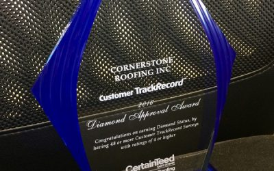 2016 CertainTeed Customer TrackRecord Diamond Approval Award
