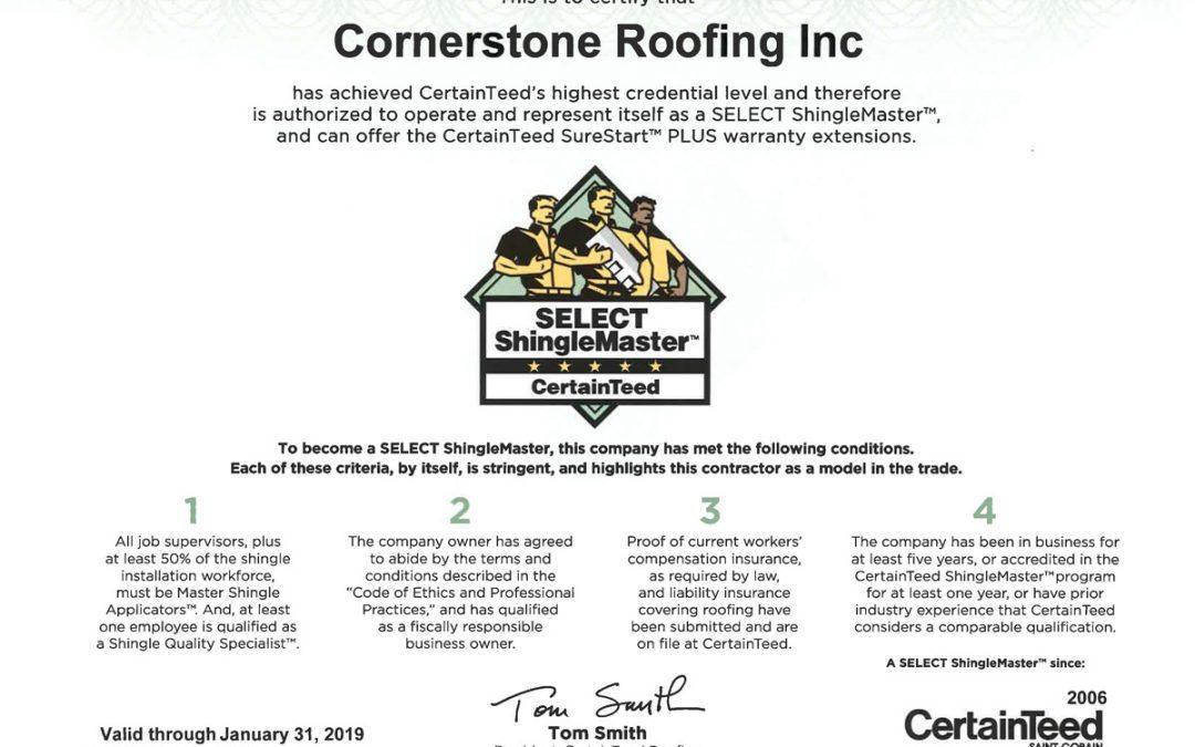 2018 CertainTeed SELECT ShingleMaster Certificate