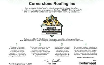 2018 CertainTeed SELECT ShingleMaster Certificate