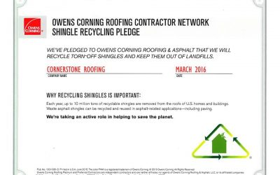 Owens Corning Shingle Recycling Pledge