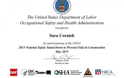 2015 National Safety Stand-Down Certificate