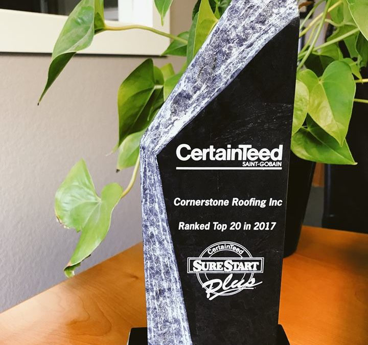Cornerstone Roofing is #1 in WA and #11 in the nation for CertainTeed SureStart PLUS Warranted Jobs