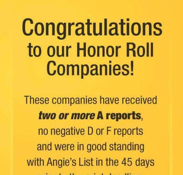 Cornerstone Roofing earns Angie's List Honor Roll again!