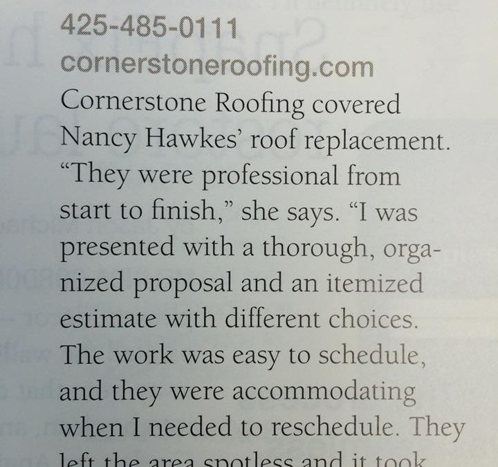 "Cornerstone Roofing is honored to be chosen for Angie's List's ""Pages of Happiness"" magazine feature"
