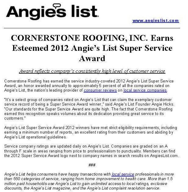 Cornerstone Roofing wins the 2012 Angie's List Super Service Award