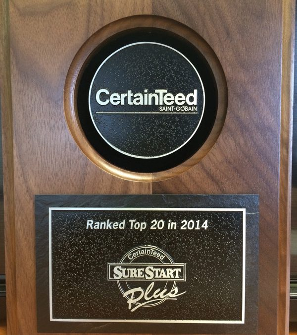 CertainTeed ranks Cornerstone Roofing Top 20 nationwide for 2014!