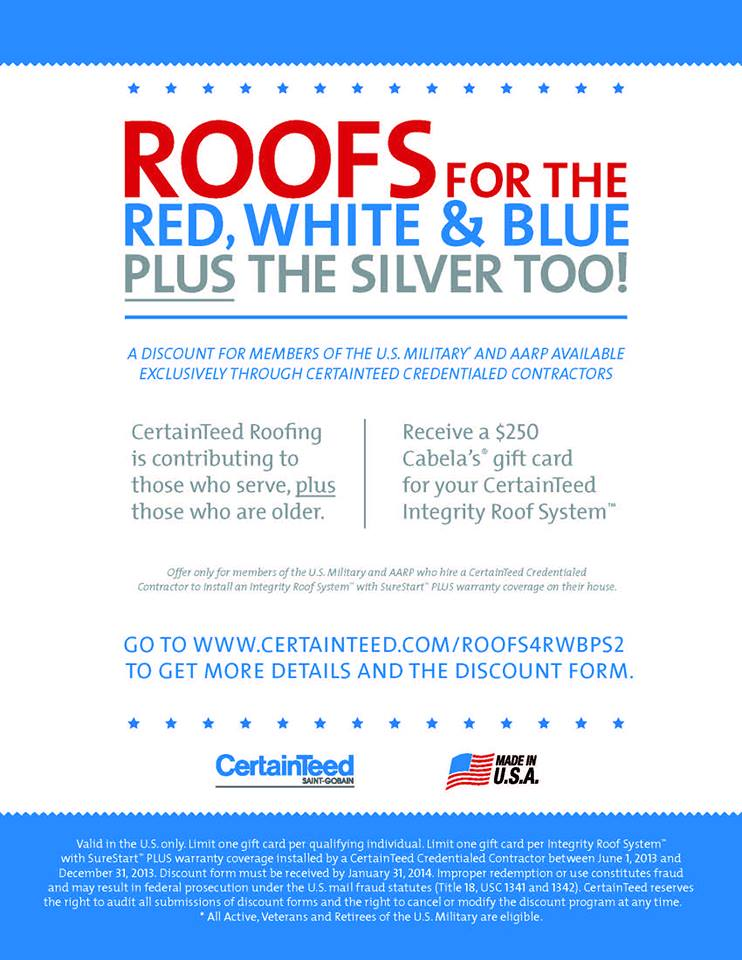 Certainteed Launches Roofs For The Red White Blue Plus The Silver Too Cornerstone Roofing Inc