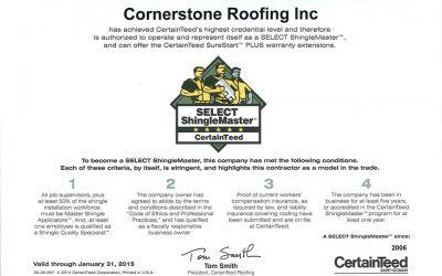 Cornerstone Roofing receives highest credential with CertainTeed