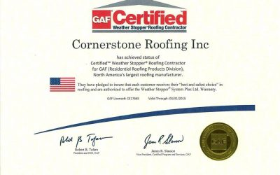 Cornerstone Roofing is a GAF Certified Weather Stopper Roofing Contractor