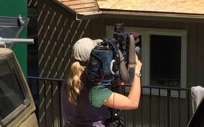 Behind the scenes of KOMO-TV filming Cornerstone Roofing's job site