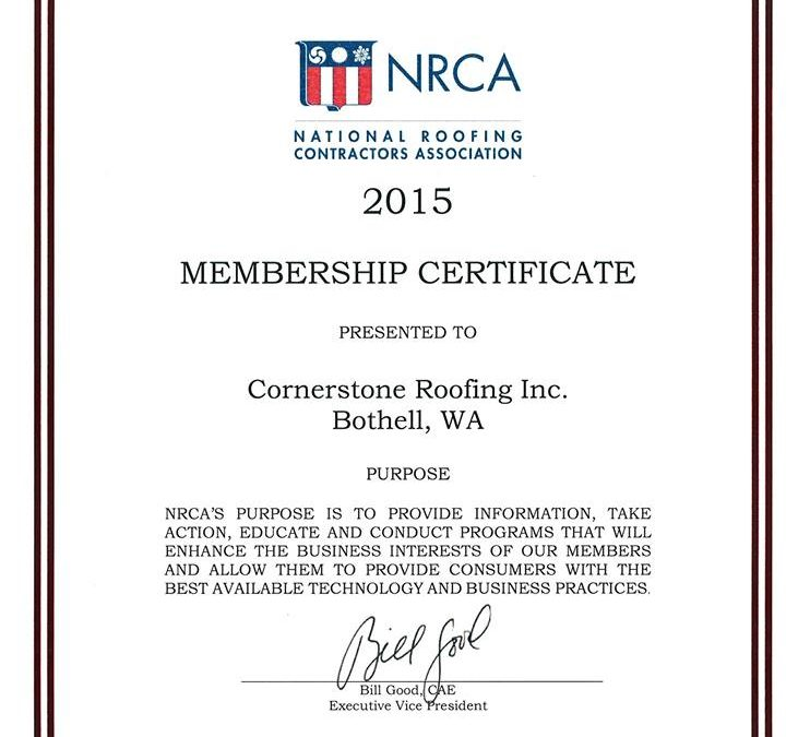Cornerstone Roofing is proud to be a member of the National Roofing Contractors Association