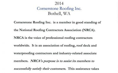 Cornerstone Roofing is a member of the National Roofing Contractors Association