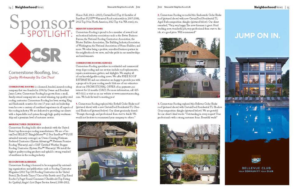 Cornerstone Roofing featured in Sponsor Spotlight of local magazines