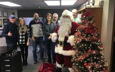 Santa visits Cornerstone Roofing!
