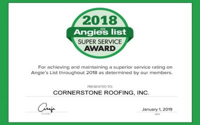 Cornerstone Roofing Earns 2018 Angie's List Super Service Award