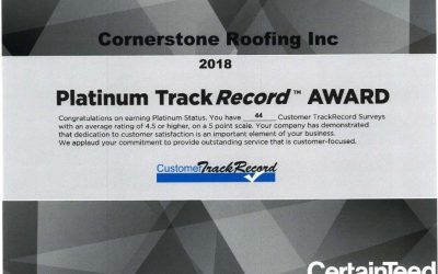 Cornerstone Roofing Earns CertainTeed's Platinum Level Customer Approval Rating!