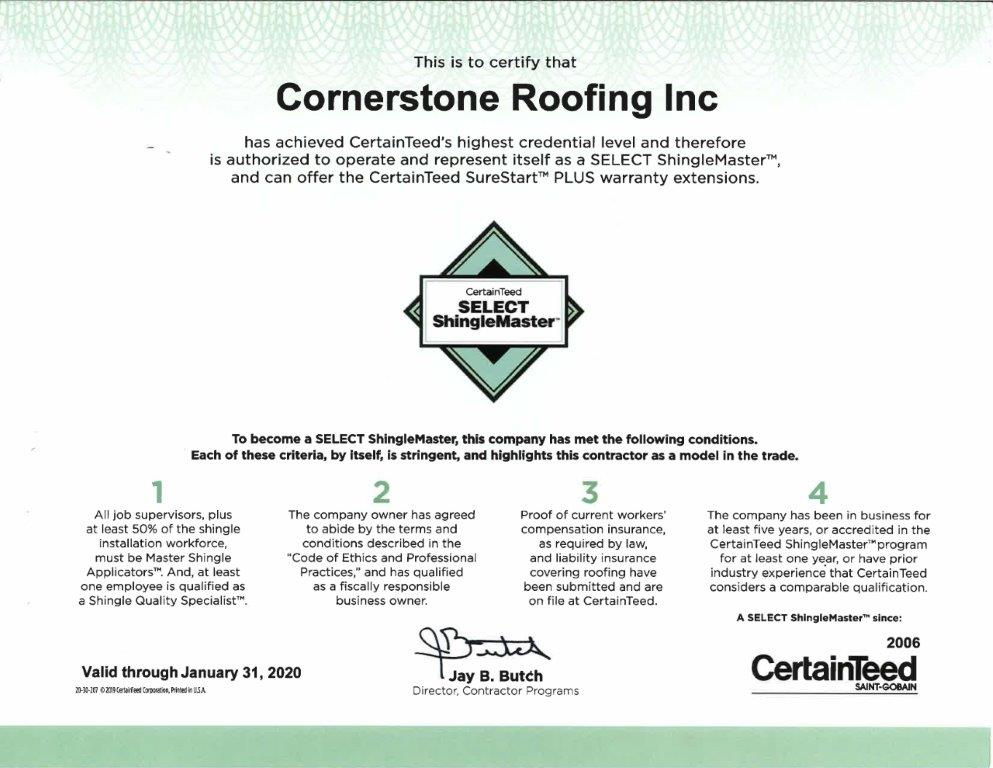Cornerstone Roofing Receives 2019 Certainteed Select Shinglemaster Contractor Certificate Cornerstone Roofing Inc