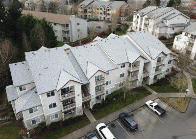 CertainTeed Landmark Birchwood Asphalt Composition Shingle New Roof Replacement on large apartment building in Lynnwood Washington
