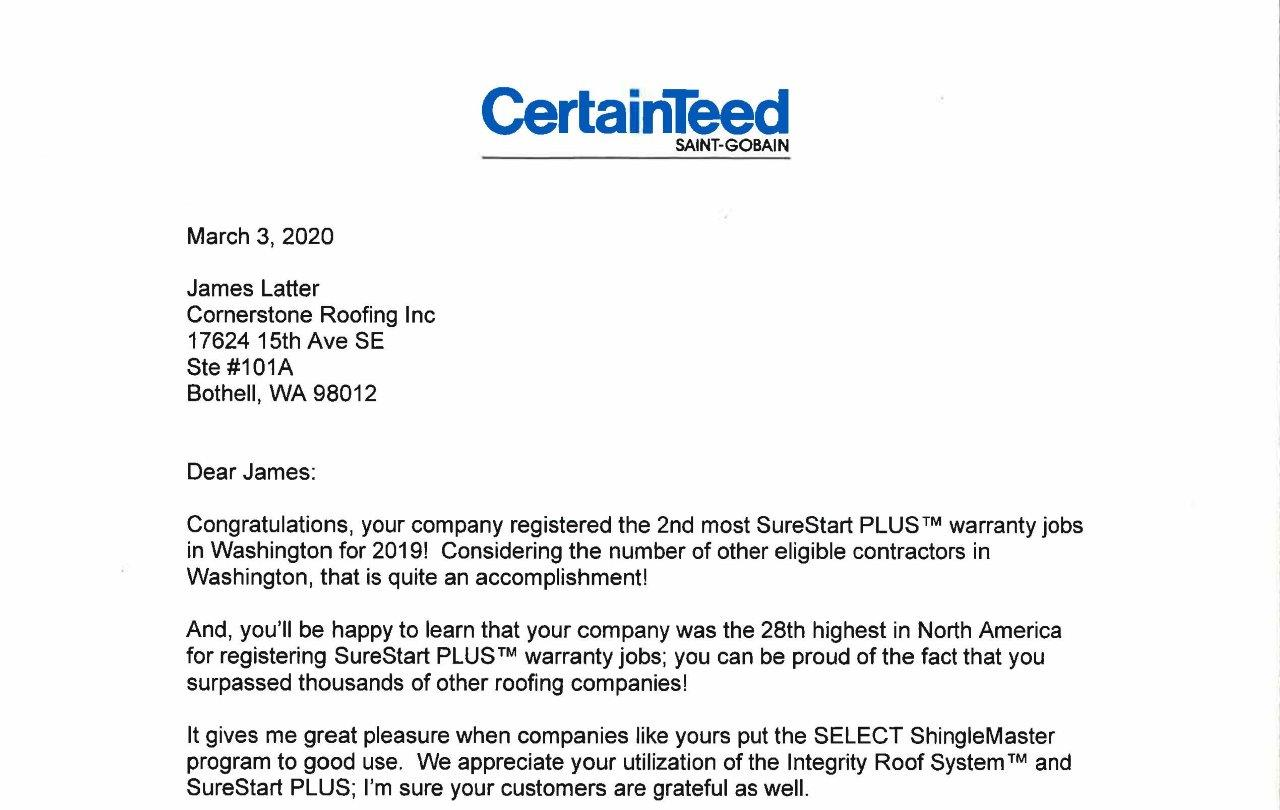 Top Rating For Surestart Plus Protected Roofs Cornerstone Roofing Inc