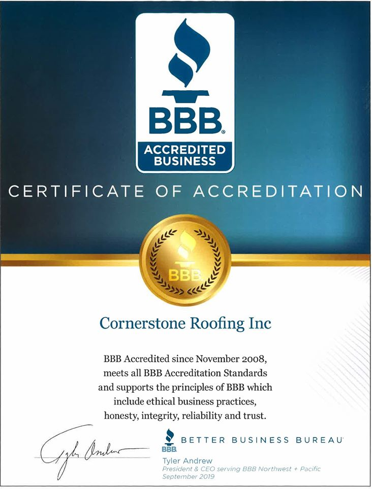 Cornerstone Roofing Inc in Bothell Washington receives BBB Accredited Business Certificate of Accreditation and complaint free A+ Rating