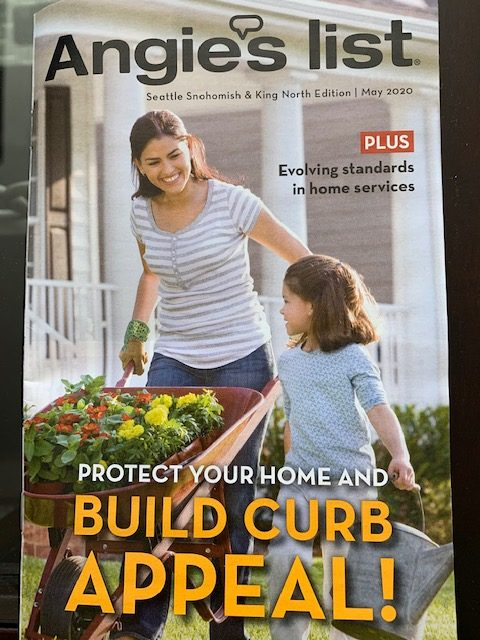 May 2020 issue of Angie's List showing how to protect your home and build curb appeal with summer home improvement roof and gutter projects