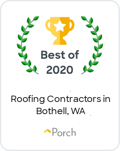 Cornerstone Roofing has earned the Best of Porch 2020 Award for best Roofing Contractors in Bothell Washington